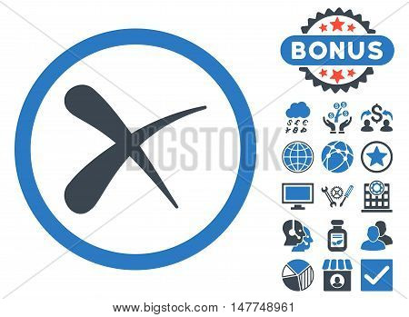 Erase icon with bonus images. Vector illustration style is flat iconic bicolor symbols, smooth blue colors, white background.