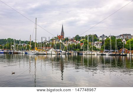 Vew Of Harbour In Flensburg City, Germany