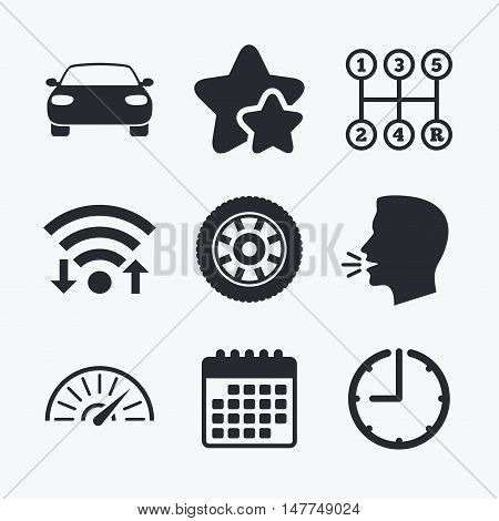 Transport icons. Car tachometer and mechanic transmission symbols. Wheel sign. Wifi internet, favorite stars, calendar and clock. Talking head. Vector