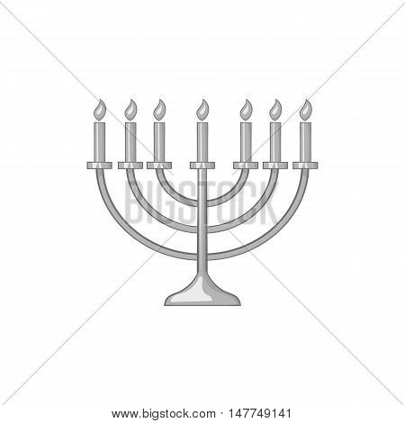 Menorah icon in black monochrome style isolated on white background. Religion symbol vector illustration