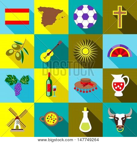Spain icons set in flat style. Spain travel tourist attractions set collection vector illustration