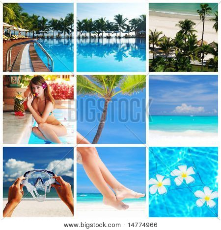 Collage con fotos del hermoso balneario tropical