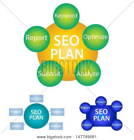 Set Plan for Search Engine Optimization isolated on white background