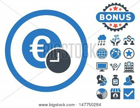 Euro Credit icon with bonus elements. Vector illustration style is flat iconic bicolor symbols, smooth blue colors, white background.