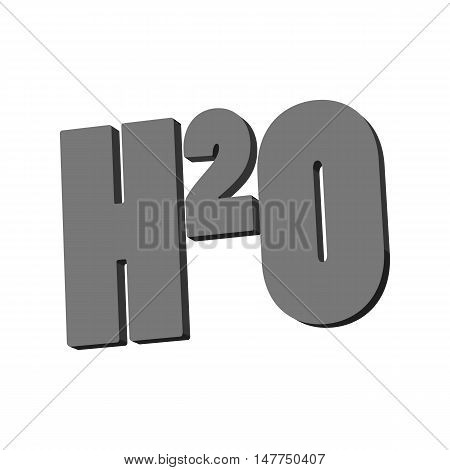 Chemical formula of water icon in black monochrome style isolated on white background. Liquid symbol vector illustration