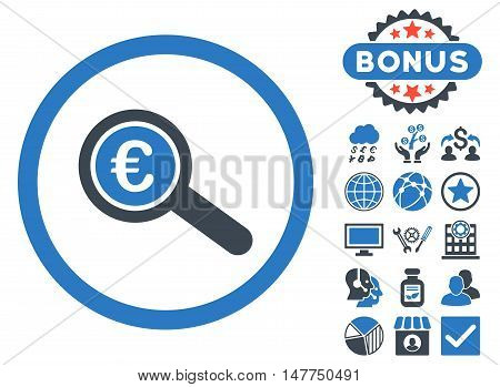 Euro Financial Audit icon with bonus pictogram. Vector illustration style is flat iconic bicolor symbols, smooth blue colors, white background.