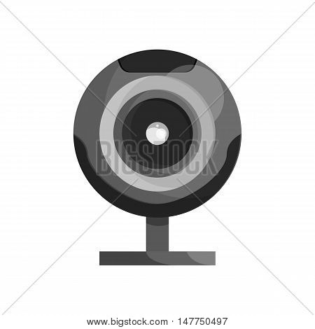 Webcam icon in black monochrome style isolated on white background. Video symbol vector illustration