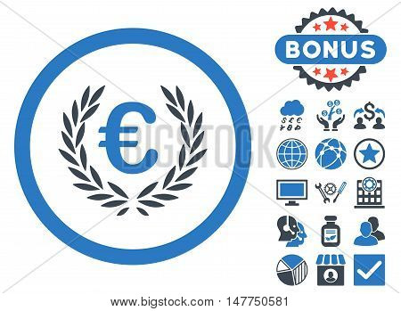 Euro Glory icon with bonus images. Vector illustration style is flat iconic bicolor symbols, smooth blue colors, white background.