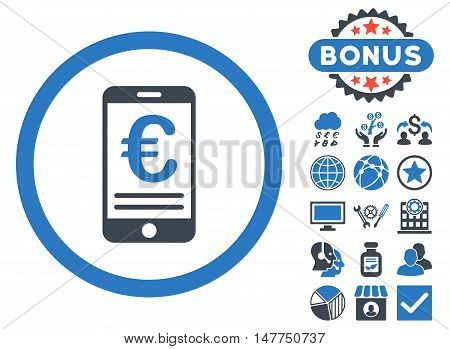 Euro Mobile Bank Account icon with bonus design elements. Vector illustration style is flat iconic bicolor symbols, smooth blue colors, white background.