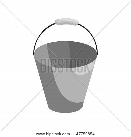 Bucket icon in black monochrome style isolated on white background. Cleaning symbol vector illustration