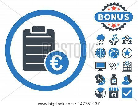 Euro Prices icon with bonus pictures. Vector illustration style is flat iconic bicolor symbols, smooth blue colors, white background.
