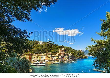 Portofino luxury landmark aerial panoramic view. Village and yacht in little bay harbor. Liguria Italy