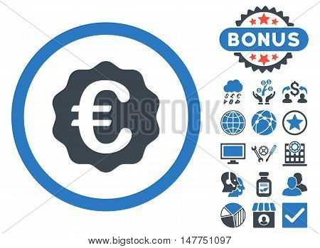 Euro Reward Seal icon with bonus design elements. Vector illustration style is flat iconic bicolor symbols, smooth blue colors, white background.