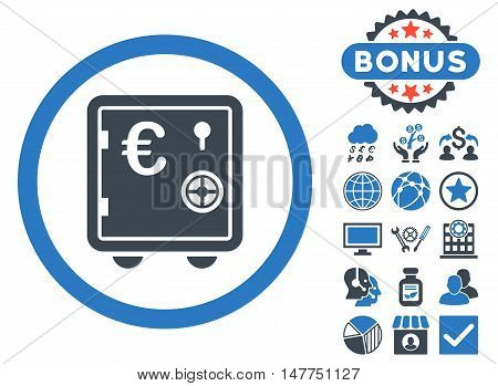 Euro Safe icon with bonus pictures. Vector illustration style is flat iconic bicolor symbols, smooth blue colors, white background.