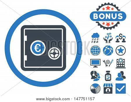 Euro Safe icon with bonus design elements. Vector illustration style is flat iconic bicolor symbols, smooth blue colors, white background.