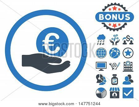 Euro Salary Hand icon with bonus pictures. Vector illustration style is flat iconic bicolor symbols, smooth blue colors, white background.