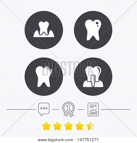 Dental care icons. Caries tooth sign. Tooth endosseous implant symbol. Parodontosis gingivitis sign. Chat, award medal and report linear icons. Star vote ranking. Vector