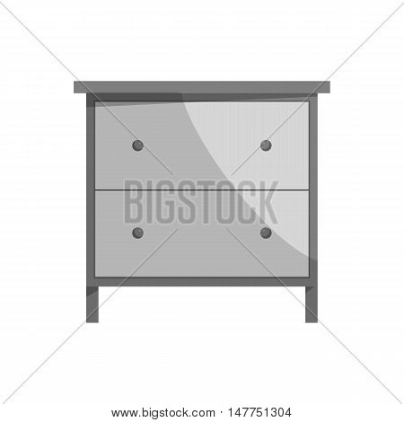 Drawer icon in black monochrome style isolated on white background. Home and interior symbol vector illustration