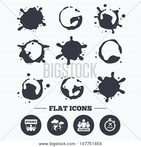 Paint, coffee or milk splash blots. Strike icon. Storm bad weather and group of people signs. Delayed flight symbol. Smudges splashes drops. Vector