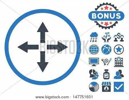 Expand Arrows icon with bonus images. Vector illustration style is flat iconic bicolor symbols, smooth blue colors, white background.
