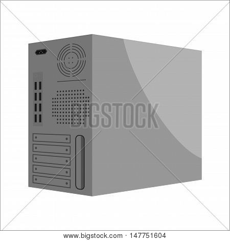 System unit of a computer the back part icon in black monochrome style isolated on white background. Equipment symbol vector illustration