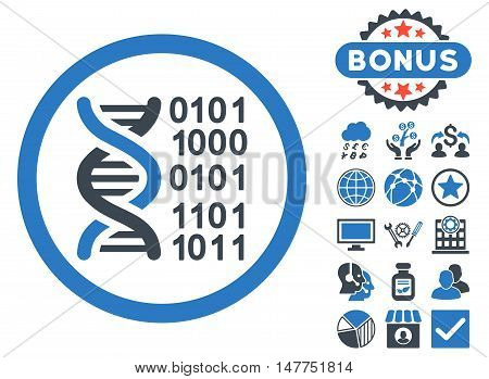 Genome Code icon with bonus design elements. Vector illustration style is flat iconic bicolor symbols, smooth blue colors, white background.