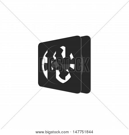 Cooler for computer icon in black monochrome style isolated on white background. Components symbol vector illustration