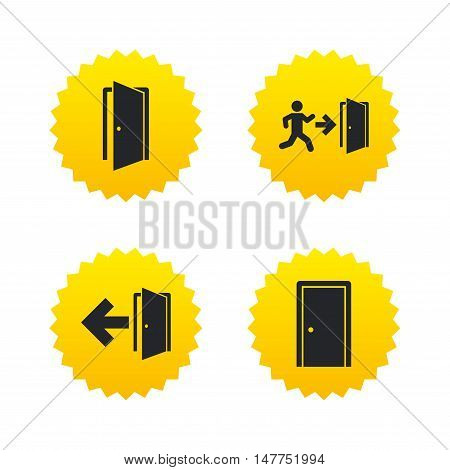 Doors icons. Emergency exit with human figure and arrow symbols. Fire exit signs. Yellow stars labels with flat icons. Vector