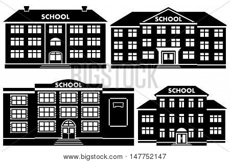 Icon set different types of school buildings. Schoolhouses silhouettes on white background. Vector illustration.