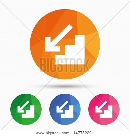 Downstairs icon. Down arrow sign. Triangular low poly button with flat icon. Vector