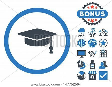Graduation Cap icon with bonus images. Vector illustration style is flat iconic bicolor symbols, smooth blue colors, white background.