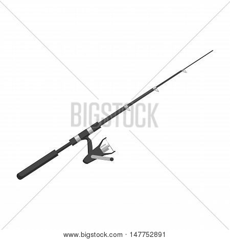 Rod spinning with spoon-bait icon in black monochrome style isolated on white background vector illustration