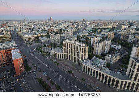 View from Domnikov building to Sakharov avenue at beautiful morning in Moscow, Russia