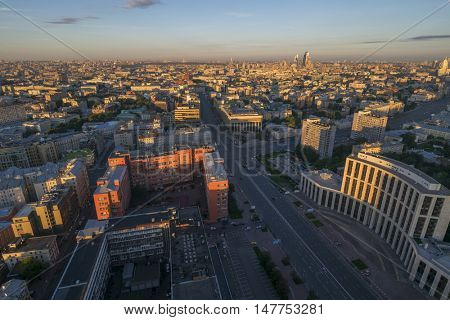 View from Business Center Domnikov to Sakharov avenue during sunrise in Moscow, Russia