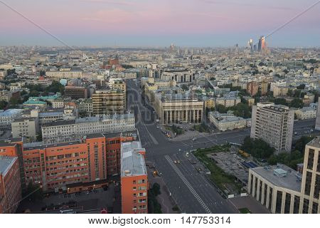 View from Business Center Domnikov to Sakharov avenue at beautiful morning in Moscow, Russia