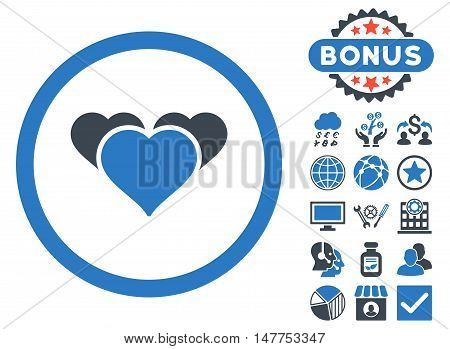 Heart Favourites icon with bonus design elements. Vector illustration style is flat iconic bicolor symbols, smooth blue colors, white background.