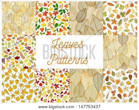 Autumn fallen leaves seamless patterns set with autumnal foliage and branches of forest trees, acorn, rowanberry fruit. Autumn season theme, scrapbook page backdrop design