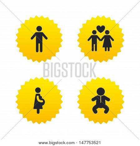Family lifetime icons. Couple love, pregnancy and birth of a child symbols. Human male person sign. Yellow stars labels with flat icons. Vector