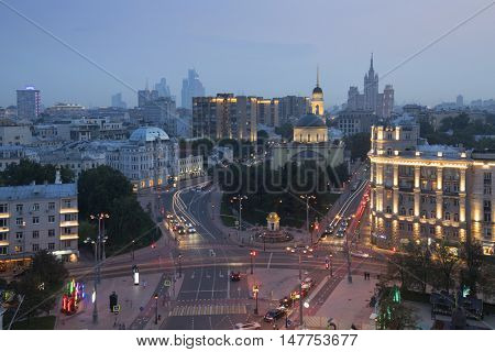 Church of Ascension of Lord near Nikitsky Gate at evening, view from ITAR-TASS building in Moscow