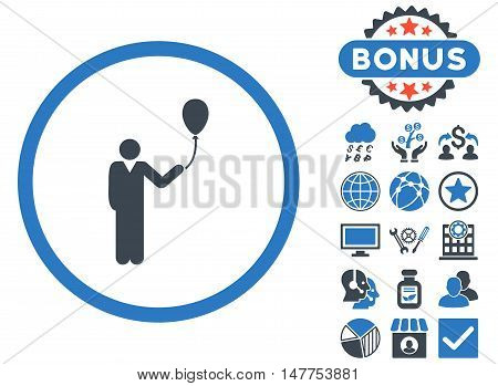 Holiday icon with bonus design elements. Vector illustration style is flat iconic bicolor symbols, smooth blue colors, white background.