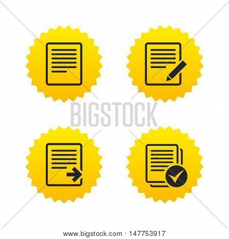 File document icons. Download file symbol. Edit content with pencil sign. Select file with checkbox. Yellow stars labels with flat icons. Vector