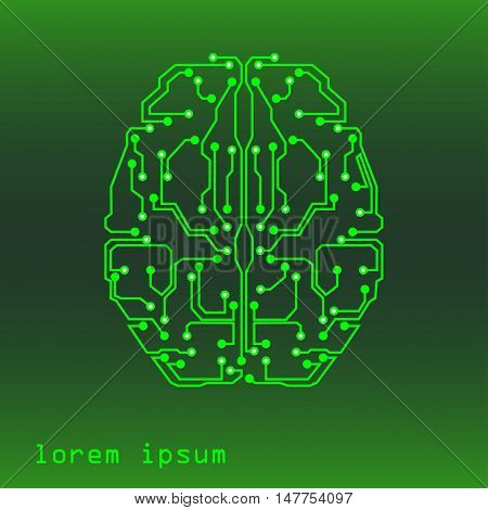 vector illustration of the human brain in technological style