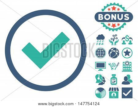 Accept icon with bonus elements. Vector illustration style is flat iconic bicolor symbols, cobalt and cyan colors, white background.