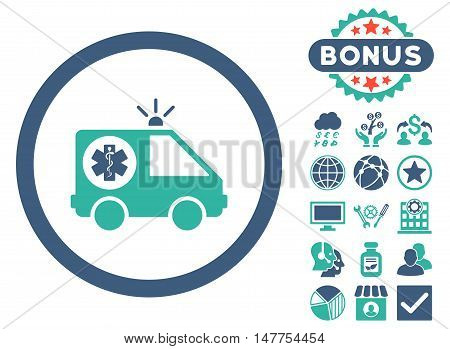 Ambulance Car icon with bonus pictures. Vector illustration style is flat iconic bicolor symbols, cobalt and cyan colors, white background.