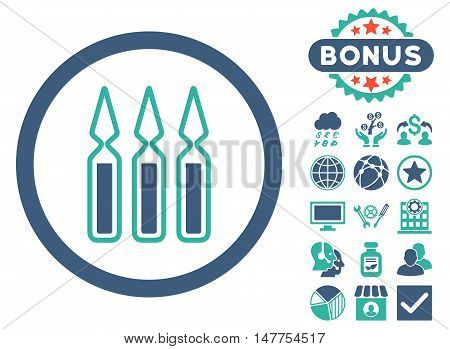 Ampoules icon with bonus symbols. Vector illustration style is flat iconic bicolor symbols, cobalt and cyan colors, white background.