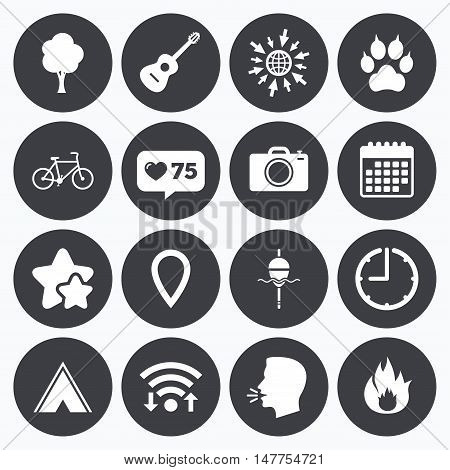 Calendar, wifi and clock symbols. Like counter, stars symbols. Tourism, camping icons. Fishing, fire and bike signs. Guitar music, photo camera and paw with clutches. Talking head, go to web symbols. Vector