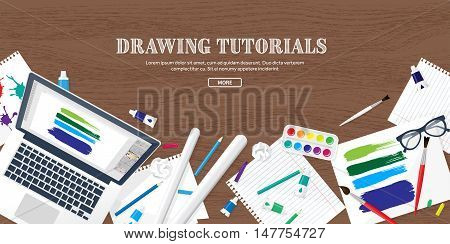 Graphic and web design illustration.Flat style.Designer workplace with tools.Web development, user interface design.UI.Digital drawing.Graphic design trends and ideas.Motion graphic software, tutorial