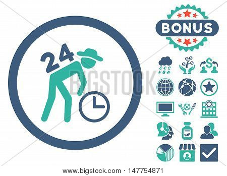 Around the Clock Work icon with bonus elements. Vector illustration style is flat iconic bicolor symbols, cobalt and cyan colors, white background.