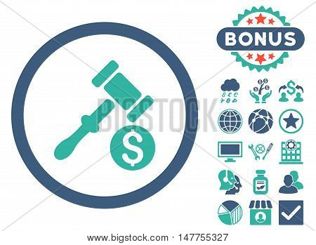 Auction icon with bonus images. Vector illustration style is flat iconic bicolor symbols, cobalt and cyan colors, white background.