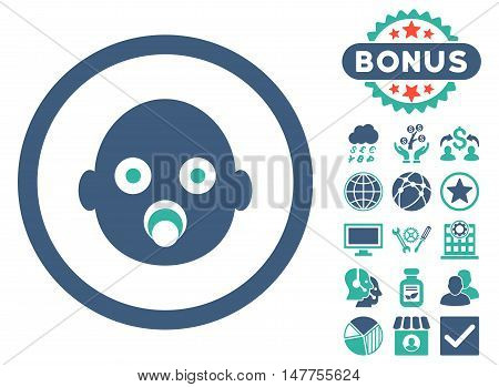 Baby Head icon with bonus design elements. Vector illustration style is flat iconic bicolor symbols, cobalt and cyan colors, white background.